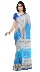 De Marca Grey-Blue Colour Crepe Saree (Product Code - TSSUNCS13351)