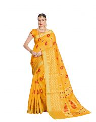 De Marca Yellow Raw Silk Saree (Code - Viv221)