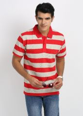 Shop or Gift 27Ashwood Red & Off White Stripped Cotton Polo T-Shirts For Men Online.