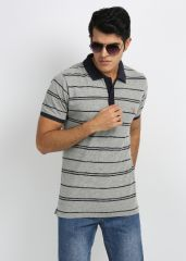 Shop or Gift 27Ashwood Aqua & Navy Stripped Cotton Polo T-Shirts For Men Online.
