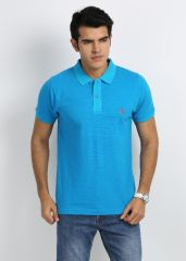 27ashwood T Shirts (Men's) - 27Ashwood Turquoise Stripped Cotton Polo T-Shirts For Men