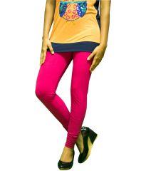 27ashwood Women's Clothing - 27Ashwood Fuchsia Solid Cotton Lycra Leggings For Women