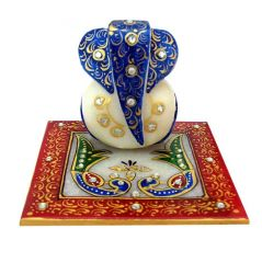 Blue And Peacock Marble Chowki Ganesh - Factory2doorstep