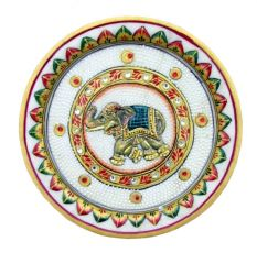Blue Elephant Marble Plate - Handicrafts