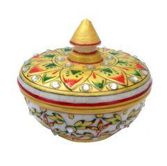 Chitrahandicraft Marble Powder Box (Pot)