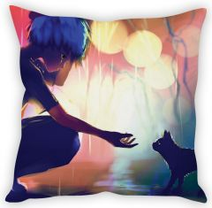 Stybuzz Girl With Cat Cushion Cover