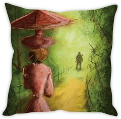 Stybuzz The Girl With Hat Cushion Cover