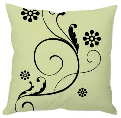 Green And Black Floral Cushion Cover