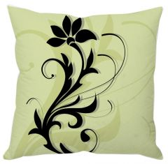 Black Floral Art Green Cushion Cover