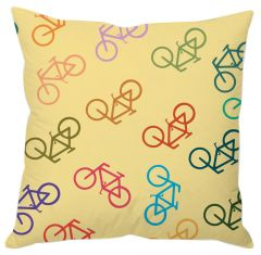 Colorful Bicycle Print Cushion Cover