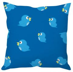 Cute Blue Bird Print Cushion Cover