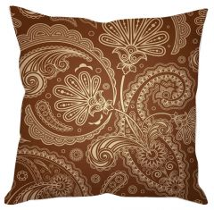 Brown Floral Abstract Cushion Cover
