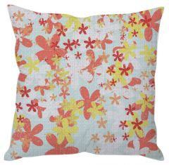 Red And Yellow Painted Floral Cushion Cover