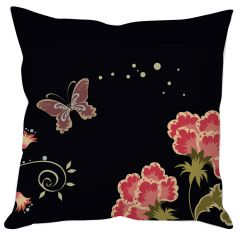 Butterfly With Flowers Cushion Cover