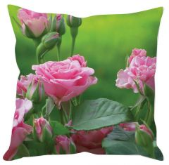 Pink Rose And Buds Cushion Cover