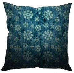 Teal Blue Floral Cushion Cover