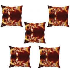 Stybuzz Fire Flowers Cushion Cover- Set Of 5