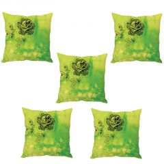 Stybuzz Green Floral Print Cushion Cover- Set Of 5