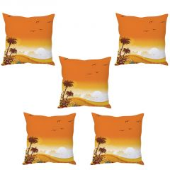 Stybuzz Orange Sunny Day Cushion Cover- Set Of 5