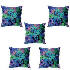 Stybuzz Floral Butterfly Cushion Cover- Set Of 5
