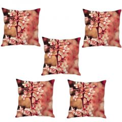 Stybuzz Cherry Blossom Cushion Cover- Set Of 5
