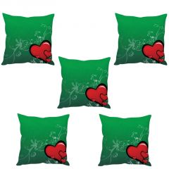 Stybuzz Red Heart Cushion Cover- Set Of 5