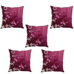 Stybuzz Pink Floral Art Cushion Cover- Set Of 5