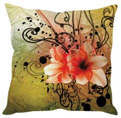 Stybuzz Peach Floral Art Green Cushion Cover