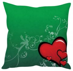 Stybuzz Red Heart Green Cushion Cover