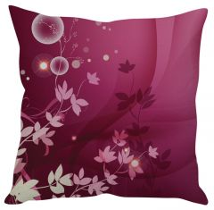 Stybuzz Pink Floral Art Pink Cushion Cover