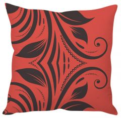 Stybuzz Red Leaf Abtract Art Red Cushion Cover