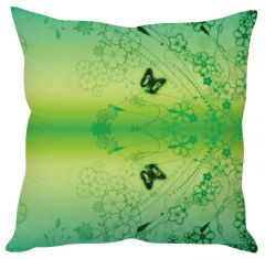 Stybuzz Green Butterfly Abstract Art Green Cushion Cover