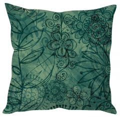 Stybuzz Green Floral Art Green Cushion Cover