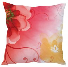 Stybuzz Red Floral Abstract Art Red Cushion Cover