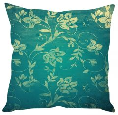 Stybuzz Green Leaf Print Green Cushion Cover