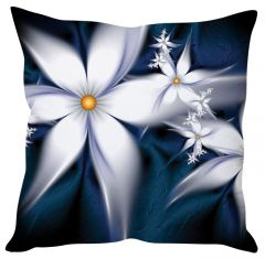 Stybuzz White Floral Abstract White Cushion Cover