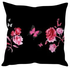 Stybuzz Floral Abstract Art Black Cushion Cover