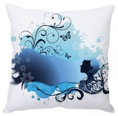 Stybuzz Girl Abstract Art White Cushion Cover