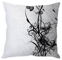 Stybuzz White Abstract Art White Cushion Cover