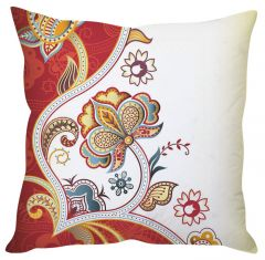 Stybuzz Red Floral Art Red Cushion Cover