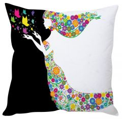 Stybuzz Flower Lady White Cushion Cover