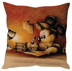 Stybuzz Mickey Mouse Sketch Brown Cushion Cover