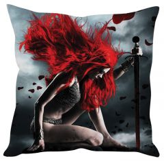 Stybuzz Rde Hair Warrior Girl Red Cushion Cover