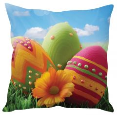 Stybuzz Beautiful Easter Eggs Orange Cushion Cover