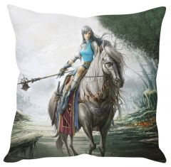 Stybuzz Warrior Girl On Horse White Cushion Cover