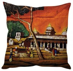 Stybuzz Village Art Orange Cushion Cover