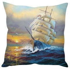 Stybuzz Ship In The Ocean Blue Cushion Cover