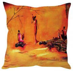 Stybuzz Modern Art Orange Cushion Cover