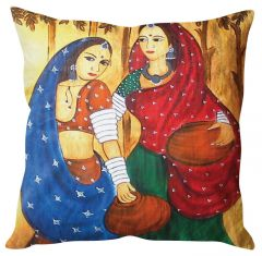 Stybuzz Traditional Indian Woman Art Multicolor Cushion Cover