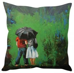 Stybuzz Couple Under Umbrella Green Cushion Cover